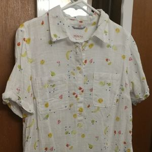 Women's large white fruits print button shirt